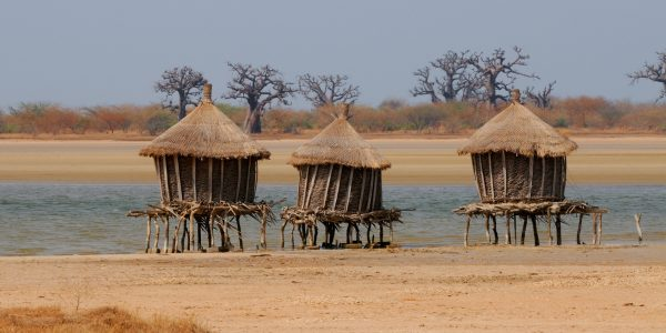 Granaries on stilts out in the sea to protect from fire, Joal , Senegal